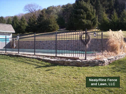 Aluminum fences installed by nealy rine fence and lawn